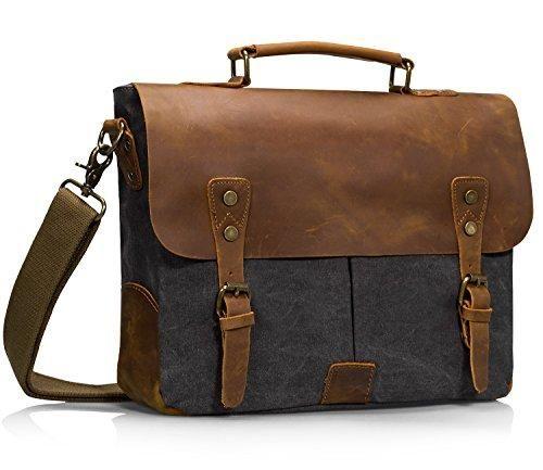 Estarer Canvas Leder Umhängetasche Vintage Laptop Tasche 15,6 Zoll Schultertasche Dunkel Grau
