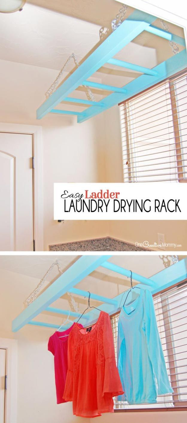 Laundry Drying Rack Made From A Hanging Ladder | 17 Laundry Room Organization Ideas For A Clean Clutter-Free Home