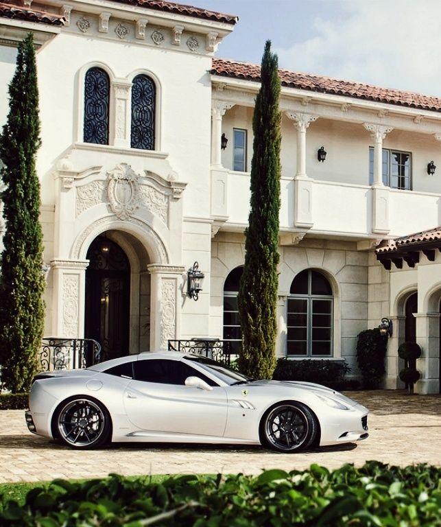 Ferrari Outside Greek Mansion