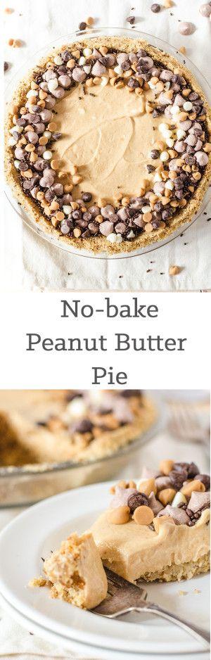 No-bake peanut butter pie with pretzel crust using GF pretzels