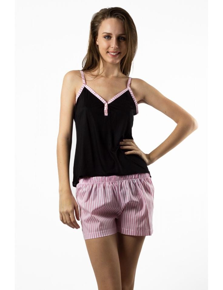 Zega Store - Pijamale Mushroom,culoarea roz cu negru - Femei, Pijamale