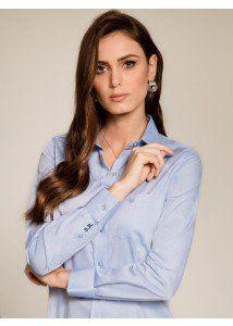 649919cbdc camisa social feminina azul claro personalizada monograma principessa isla