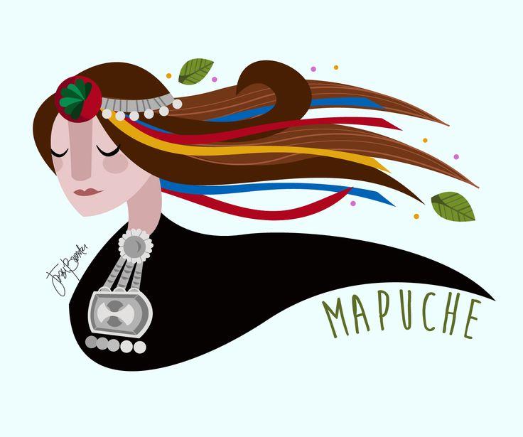 "Jezu Bunster Illustrations & Design  ""Mujer Indígena"" -MAPUCHE WOMAN-"