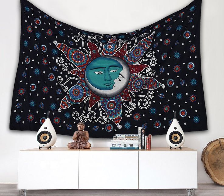 Sun Psychedelic Wall Tapestry Sun and Moon Tapestry - GoGetGlam  - 1