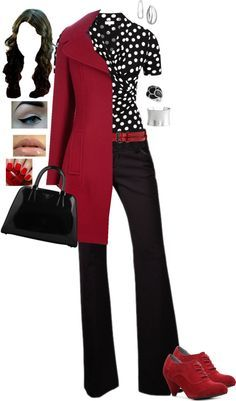 """""""Black, White & Red"""" by monicaprates on Polyvore - probably could do without the red jacket, but I like the top and pants"""