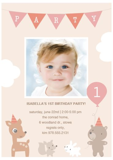 First birthday party invite. Baby animals. Greetings by Costco > Product Details