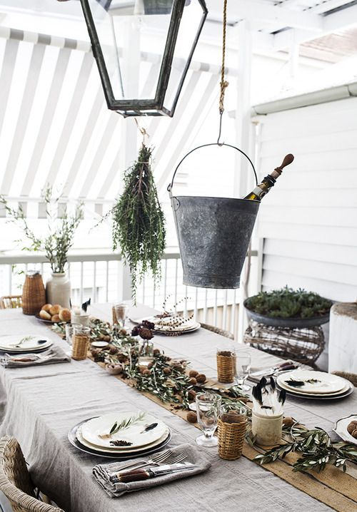Rustic Table-setting. I have just bought some beautiful european linen to make this tablecloth for my market stall!!! LOVE linen LOVING this look so much!!