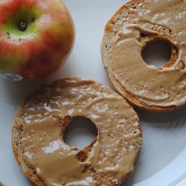 Breakfast; everything Einstein's bagel with 1 tablespoon homemade pb , an apple, then not pictured was another tbs pb for my apple and a nosa greek yogurt! #ed #edsoldier #eating #eatingdisorder #eatingdisorderrecovery #abs #ana #anorexia #anorexiarecovery #recovery #thin #fat #fit #food #fitness #clean #cleaneating #health #healthy #crosscountry #crosscountryrunner #runner #food