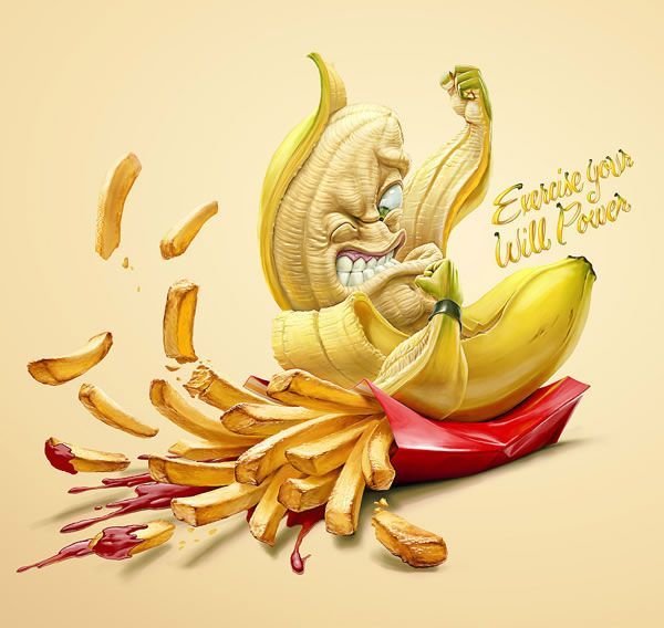 Choose Healthy Living - Banana by Oscar Ramos. - The Chilean government has released a communication campaign to raise awareness for a healthy life. Oscar Ramos , working at the agency Lowe Porta-Chile made ​​these 3 campaign posters.