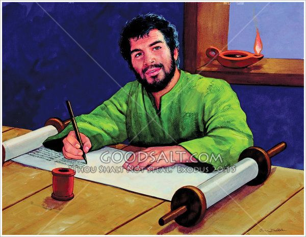 Isaiah is in a prayerful mood as he is sitting at a table with a large scroll and ordinary pen. He is writing or preparing to write the words that the Lord is giving him. (Based on Isaiah 8:1)