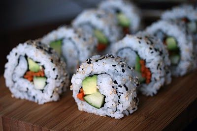 California rolls. I usually go easy on the carrot. It's also worth it to splurge and get some high quality soy sauce rather than the kind you get in squirty packets at the store. I like to start with miso soup and edamame. For a bonus, drink green tea and have Pocky for desert.