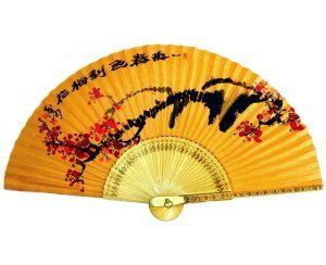 Hand Painted Folding Red Plum Flower Painting Korean Mulberry Rice Paper Dyed with Yellow Soil Bamboo Art Wooden Asian Oriental Wall Deco Handheld Decorative Fan