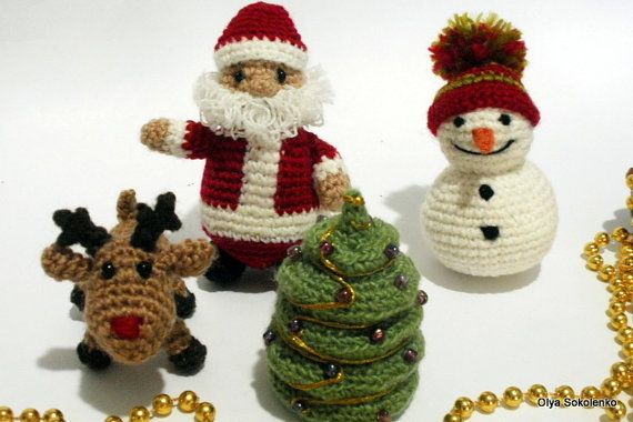 Christmas toys set Santa Claus reindeer Rudolph by KnittedJoy1