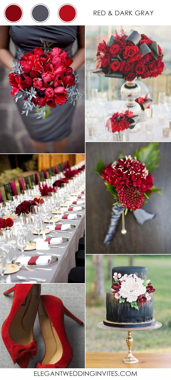 2197 best wedding colors themes inspiration boards images on red and dark gray wedding color schemes for 2017 junglespirit Choice Image