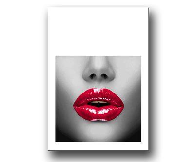 """Red lips - Röda Läppar"" Fashion Tavla / Posters & Prints"