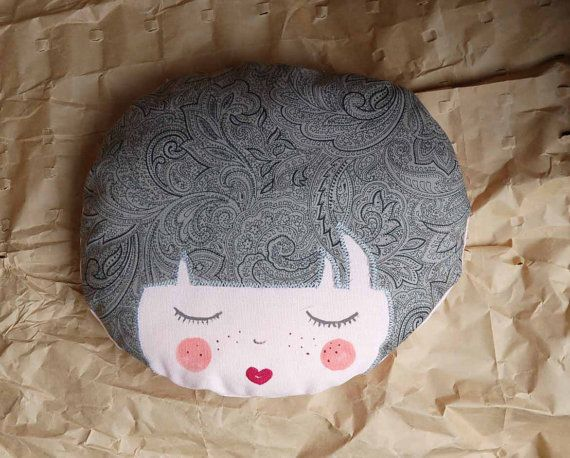 Doll face grey fabric handmade plush  by EphemereCollection