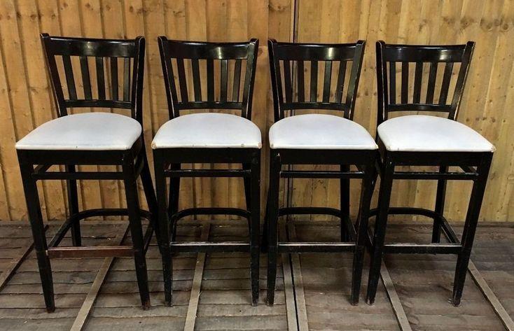 SET OF 4 HIGH / TALL BAR STOOLS / LIGHT GREY SEAT / BLACK FRAMES / PUB / HOME / #Unbranded