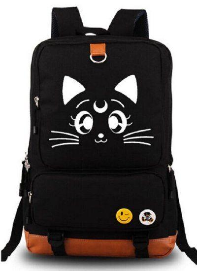 YOYOSHome® Anime Sailor Moon Cartoon Luna Canvas Backpack School Bag