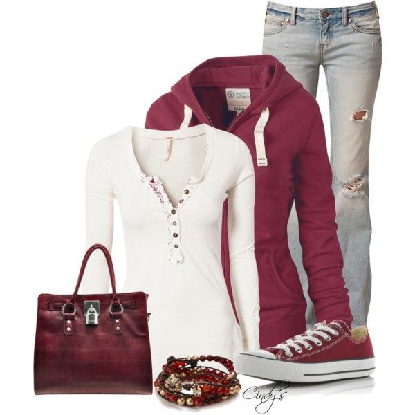 I like the comfortable look except I would take away the purse & bracelet, change the long sleeve shirt to a white v-neck, and turn the flare jeans into skinny jeans