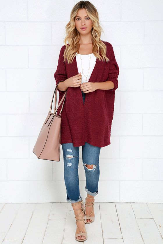 Cup of Cozy Wine Red Cardigan Sweater at Lulus.com!