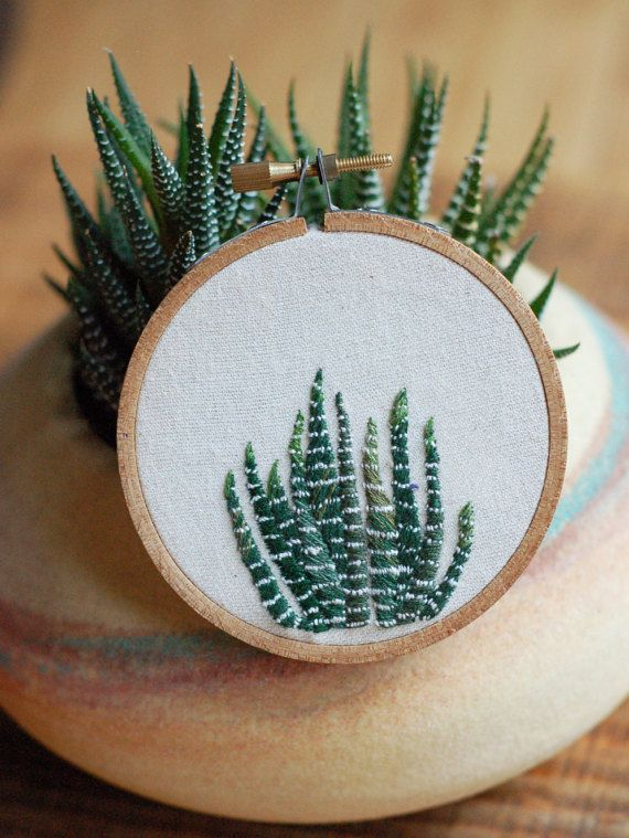 A teeny tiny zebra plant, ready for action! Add some greenery to a wall, shelf, wherever! + stretched in a 3 wooden embroidery hoop + 100% cotton
