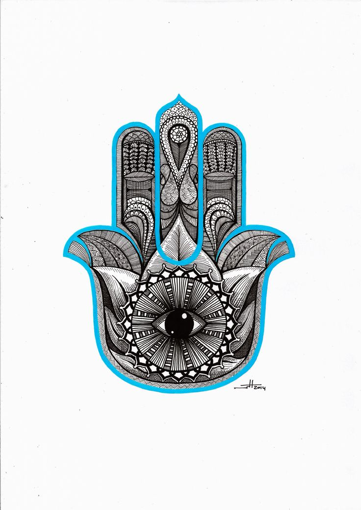 Commissioned work: Hamsa hand or hand of Fatima. Number two in a series of two. Ink drawing. Border with Posca marker. Actual paper size A4. Original artwork by  Wouter Haine http://www.dutch-designs.eu . #hamsa #ink #drawing #paper #posca #hand #Fatima #faith #protection #eye #lotus #crosshatching It's also known as the hand of Fatima, the hand of Mary and the hand of Miriam.