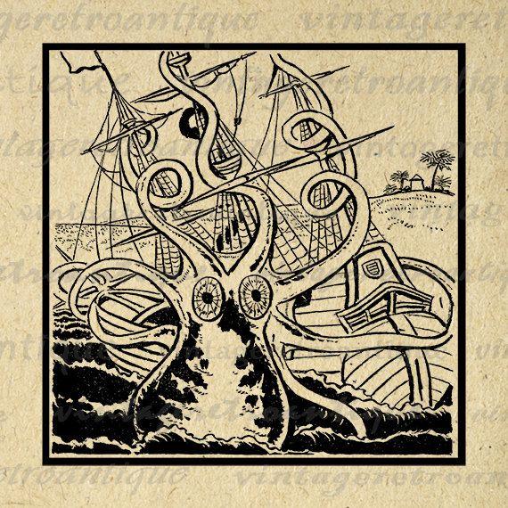 Octopus Image Digital Printable Kraken Attacking Ship Download Ocean Graphic Antique Clip Art Jpg Png Eps 18x18 HQ 300dpi No.2006 @ vintageretroantique.etsy.com #DigitalArt #Printable #Art #VintageRetroAntique #Digital #Clipart #Download