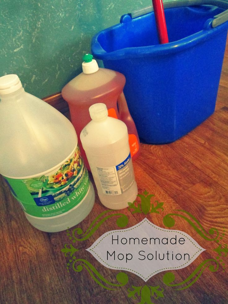 THE REHOMESTEADERS: Homemade Mop Solution = All you need is a gallon of warm water, one cup white vinegar, 1/4 cup rubbing alcohol (to help it dry quickly and without streaks) and a teaspoon of dishwashing soap to give it a little extra scrubbing power.