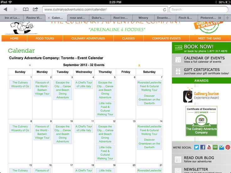 Sept 2013 food tour schedule