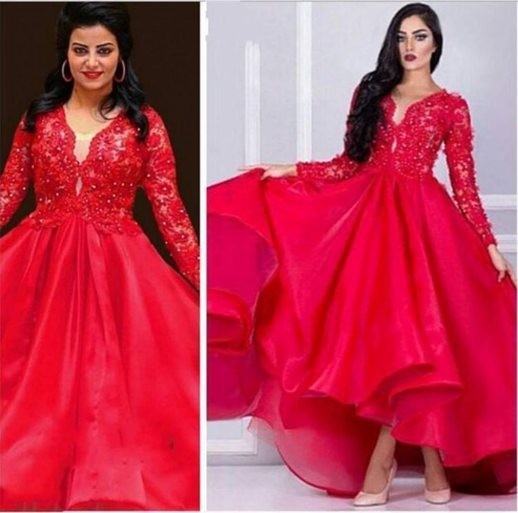 Dresses Long 2015 New Gorgeous Lace Appliques Beaded Prom Dresses Plus Size Long Sleeves V Neck Puffy 2016 Arabic Luxury Women Formal Red Evening Gowns Satin Prom Dresses From Dressfirst001, $155.73  Dhgate.Com