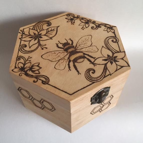 Pyrography Wooden Jewellery Box With Bee And Flower Design Unique