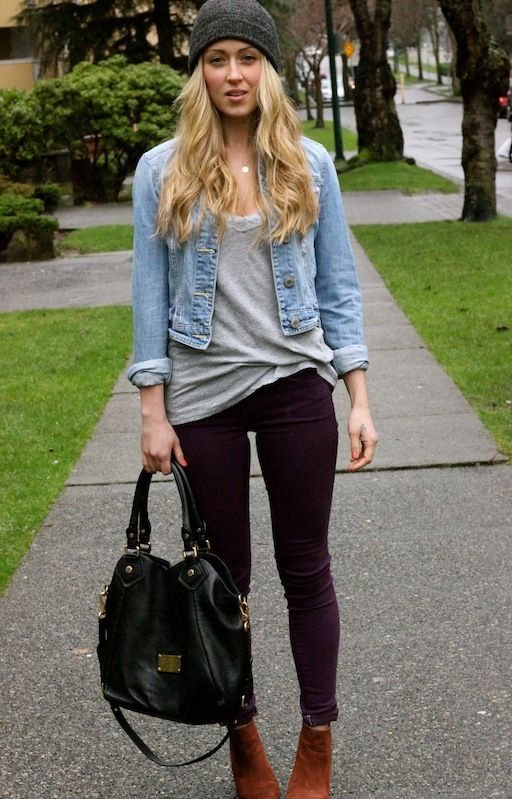 Shop this look for $112:  http://lookastic.com/women/looks/beanie-and-denim-jacket-and-v-neck-t-shirt-and-skinny-jeans-and-ankle-boots-and-tote-bag-and-pendant/2603  — Charcoal Beanie  — Light Blue Denim Jacket  — Grey V-neck T-shirt  — Dark Purple Skinny Jeans  — Brown Suede Ankle Boots  — Black Leather Tote Bag  — Silver Pendant