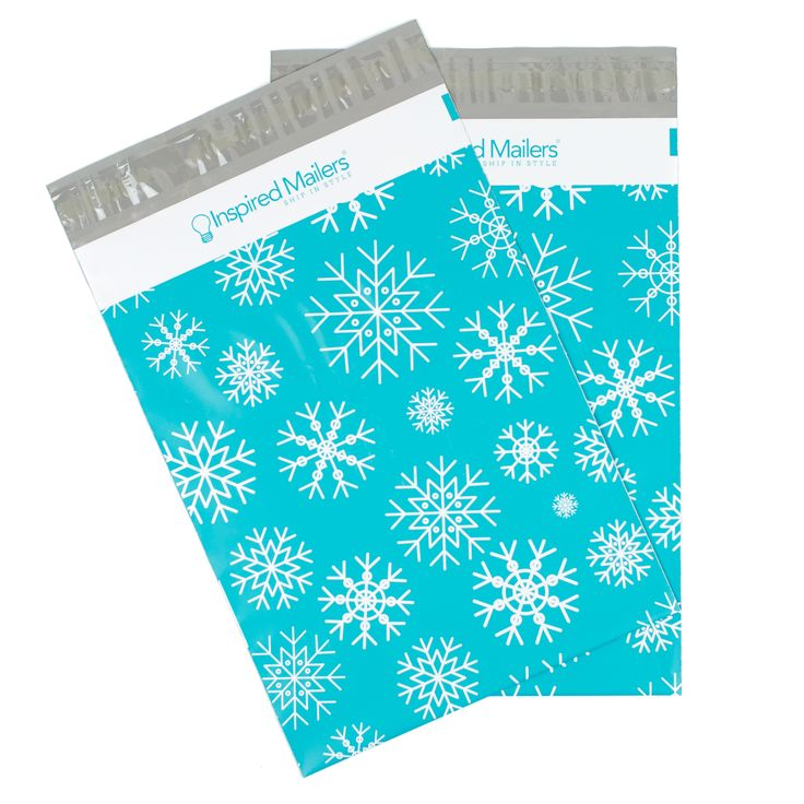 Snowflakes Printed Poly Mailers - 8.5x12 - Pack of 100 - Writable Surface: No Labels Required