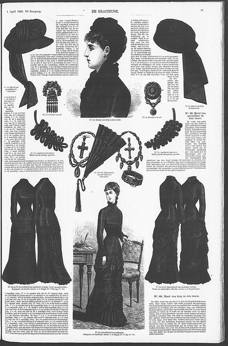 Page with Mourning Dresses in the Dutch Fashion Magazine De Gracieuse. April 1880