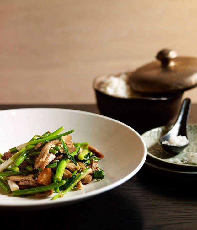 Neil Perry: Stir-fried salt pork with garlic chives and garlic stems - Gourmet Traveller