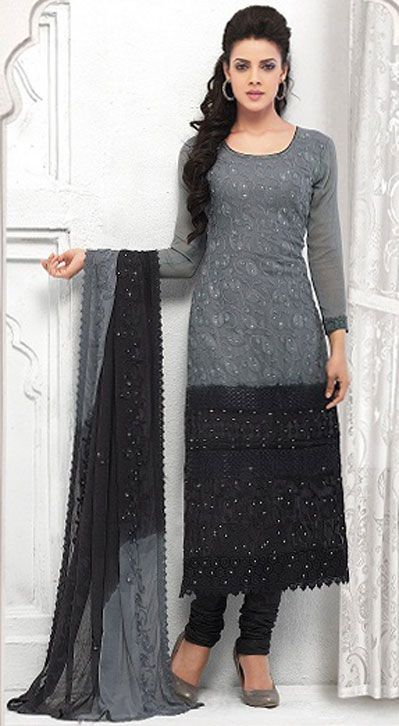 USD 37.24 Gray Chiffon Straight Cut Churidar Suit 42631