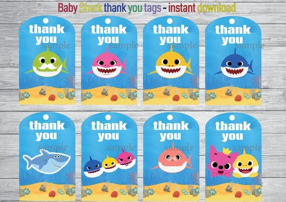 Baby Sharks Thank You Tags Baby Sharks Party Baby