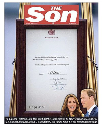 07/23/13   The Sun newspaper in England changed its header today in honor of the birth of the new prince yesterday.