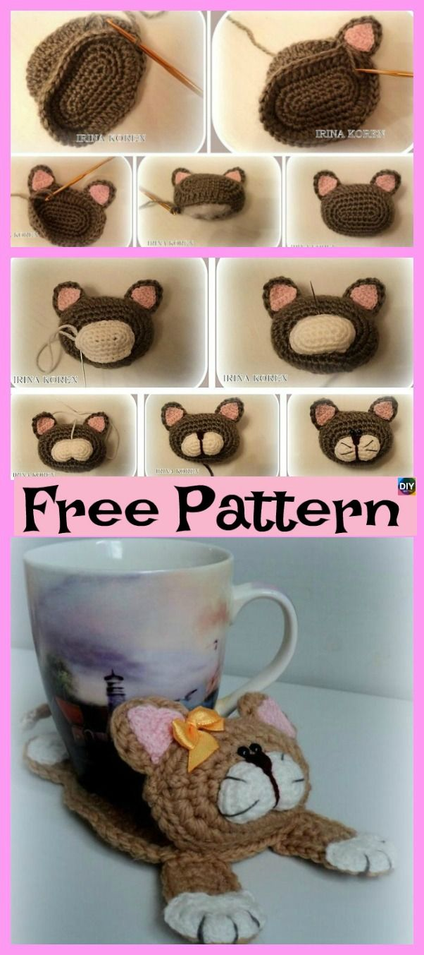 Cute Knit Cat Stand Below the Cup – Free Sample
