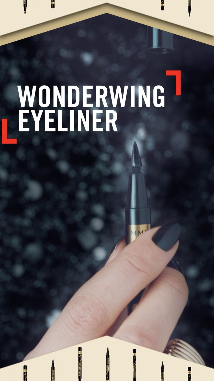Line, stamp, wing; get perfect eyeliner wings every single time with Rimmel London's NEW Wonder Wing Eyeliner. Line with the thin eyeliner nib, then stamp on symmetrical wings using the flat side of the applicator to #WingTheLook.