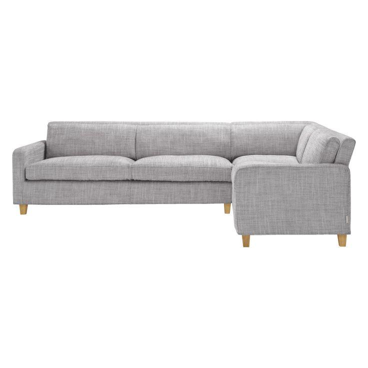 CHESTER Black & white fabric left-arm corner sofa, oak stained feet