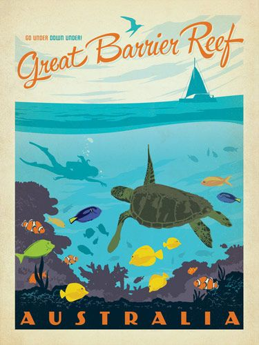 Great Barrier Reef vintage style travel poster--less traditional anchor for decorating