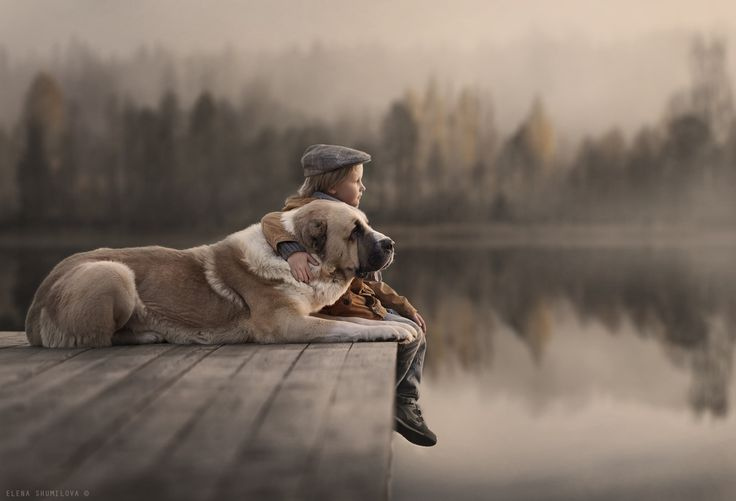 "A boy and his friend. ""Autumn Lake"" by Elena Shumilova."