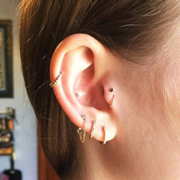 - Double tragus, triple lobe, inner conch and helix.