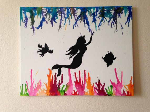 one of a kind Little Mermaid under the sea melted crayon silhouette painting with sebastian and flounder <3