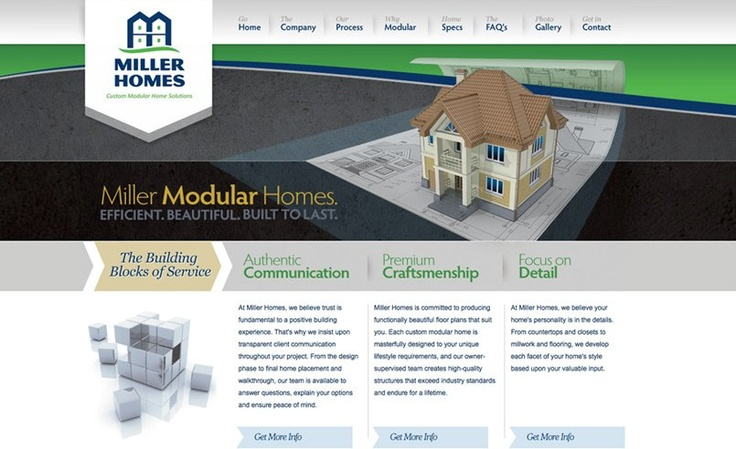 Web design for a corporate identity development for a New Jersey modular home builder.