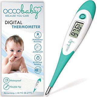 OCCObaby Clinical Digital Baby Thermometer - Flexible Tip and 10 Second Fever Read by Rectal & Oral   2017 Edition   Waterproof FDA Approved Medical Thermometer for Infants & Toddlers