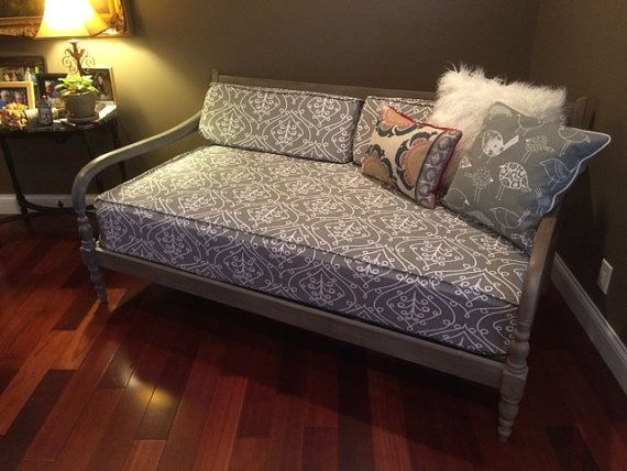 Daybed fitted mattress cover twin or twin xl  WITH CORDING / PIPING - any Premier Prints fabric, shown in Barcelona Sumerland gray