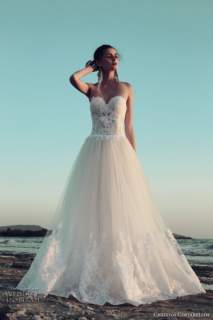 christos costarellos fall 2017 bridal strapless sweetheart neckline bustier heavily embellished bodice tulle skirt princess sexy a  line wedding dress (34) mv