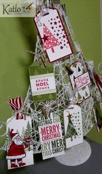 Stampin' Up! Gift Tag tree using:  Santa's Gifts Stamp Set Lots of Joy stamp set Festival of trees stamp set